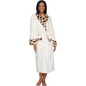 Dennis Basso Plush Robe with Leopard Faux Fur